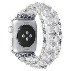 Crystal Beads Watch Strap Elastic Band Bracelet